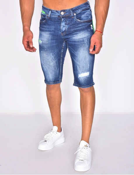 Denim Shorts with Rhinestones and Marks