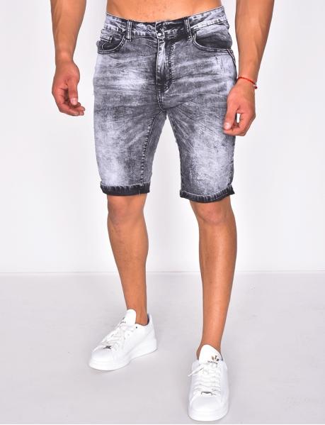 Short en jeans délavé