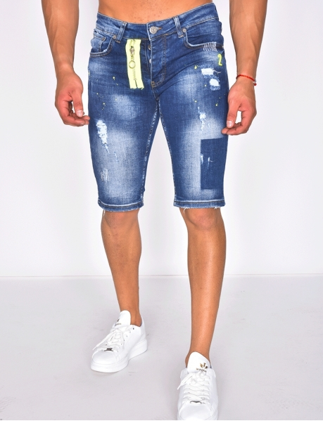 Ripped Bermuda Shorts with Paint Flecks