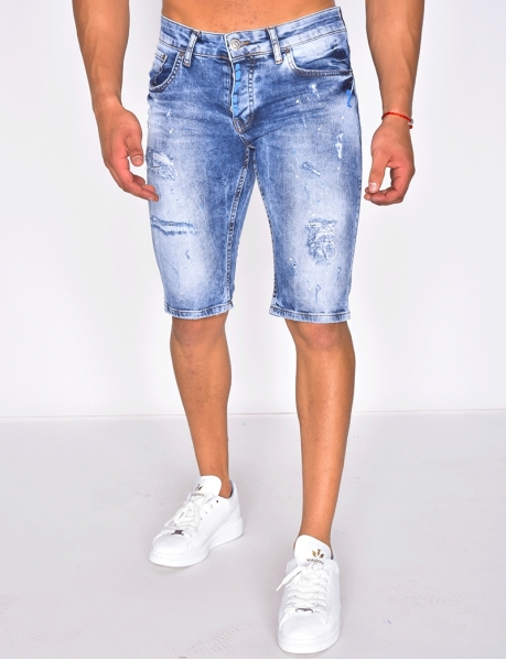 Ripped Denim Shorts with Marks