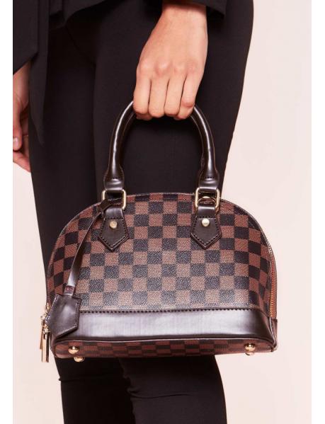 Petit sac à damier brun
