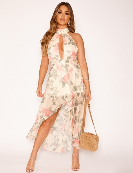 Low-Cut Dress with Flowers and Embroidery
