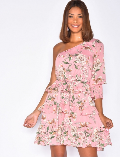 Flowery Dress with Tie and Ruffles