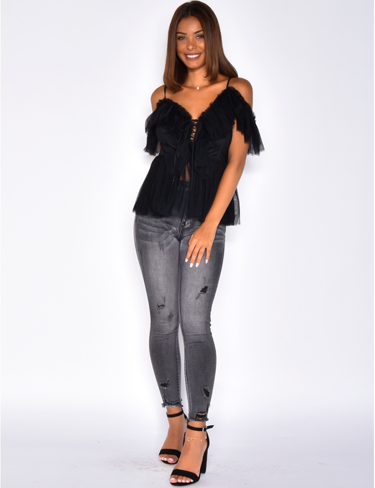 Tulle Lace Up Top