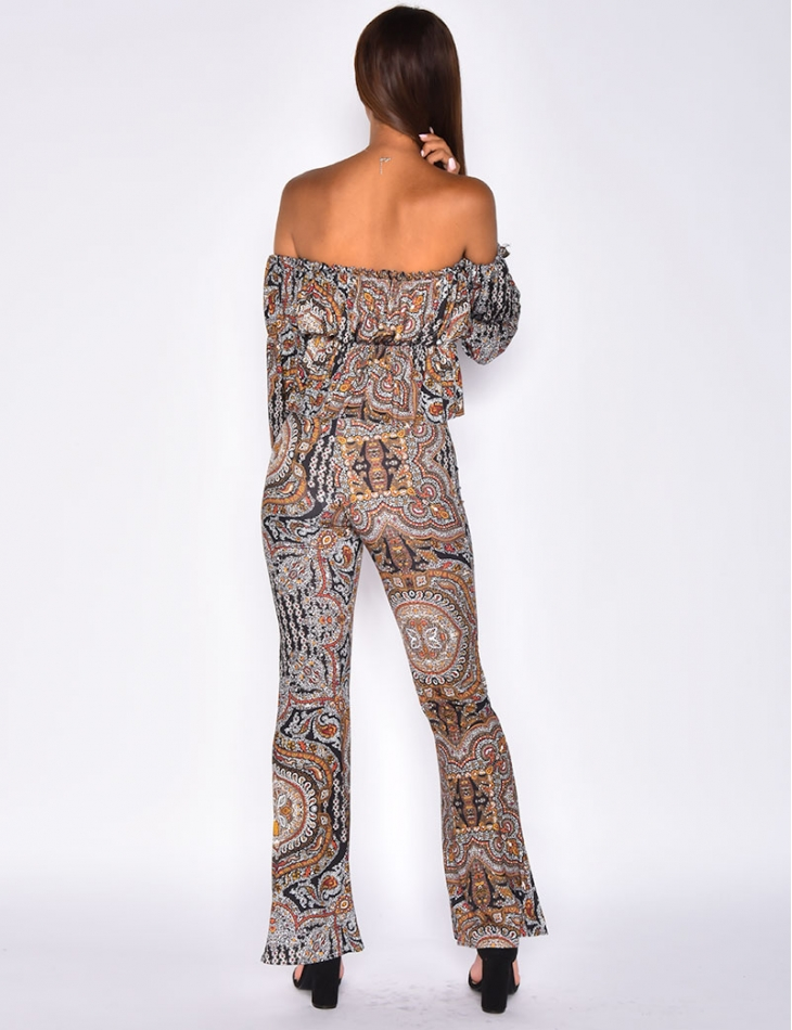 Crop Top and Trousers Co-ord with Baroque Pattern