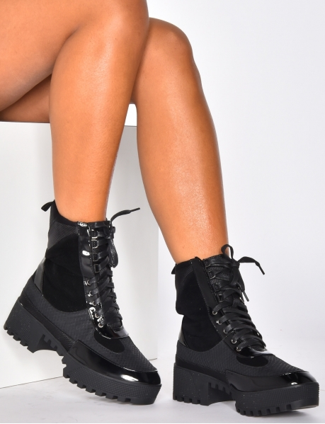 Combat Boots with Thick Soles