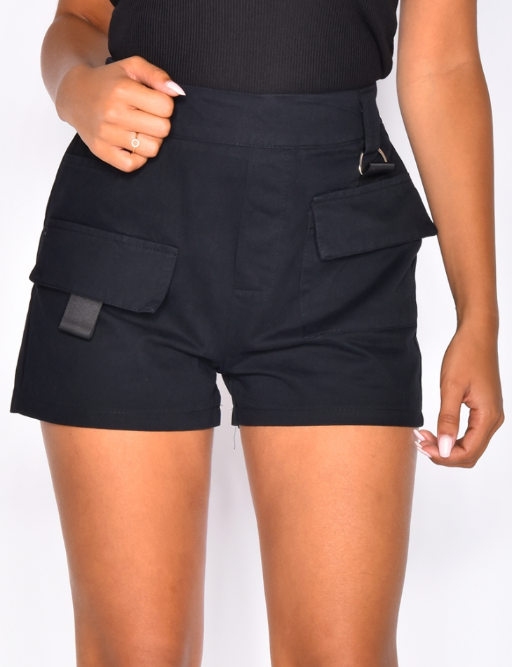 Cargo Shorts with Pockets and Belt
