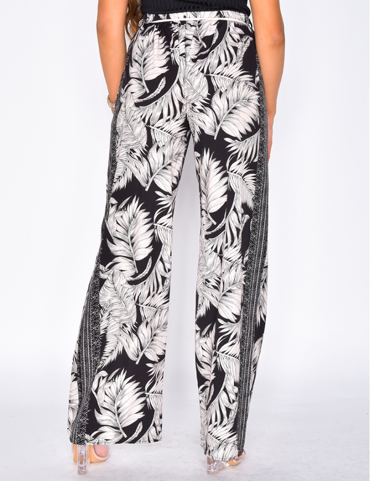 Loose Fit Trousers with Leaf Pattern