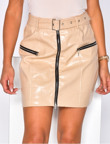 Shiny Faux Leather Skirt with Zips and Belt
