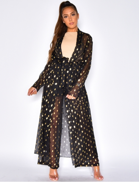 Spotted Voile Trousers and Kimono Outfit