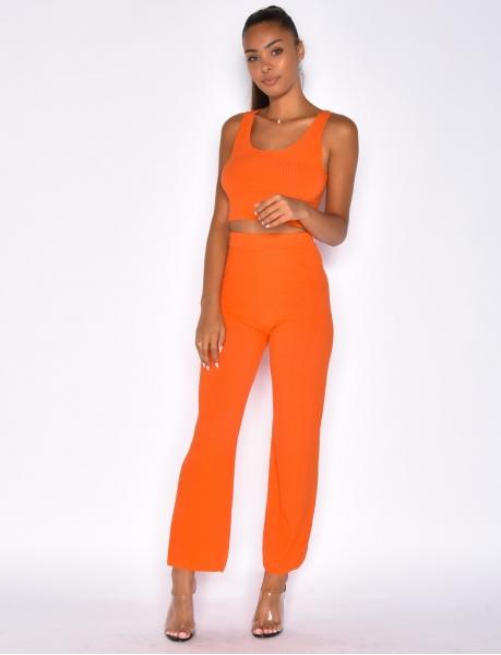 Ensemble crop-top et pantalon