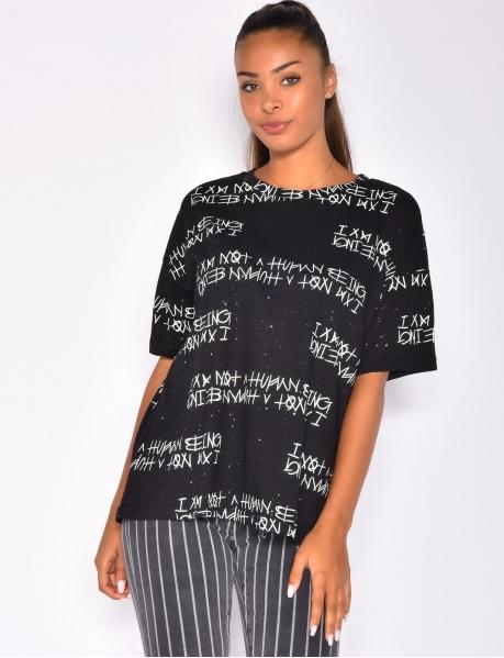 T-shirt oversize pailleté à graffitis