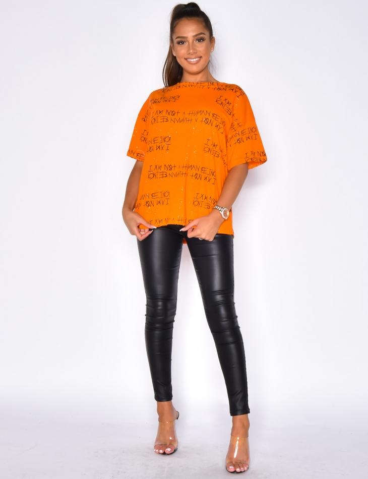 Oversized Glittery T-shirt with Graffiti