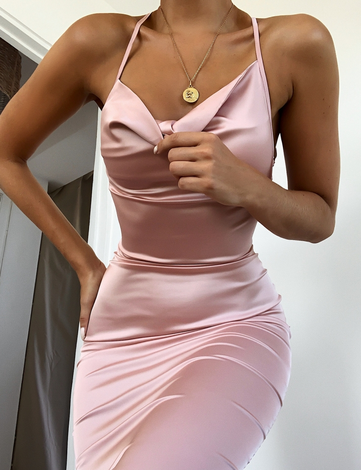 Satin Dress with Lace up Back