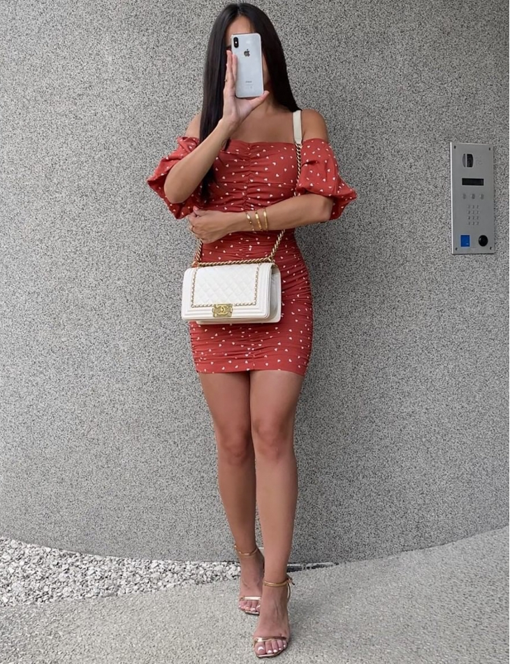 Heart Bodycon Dress with Bardot Neckline