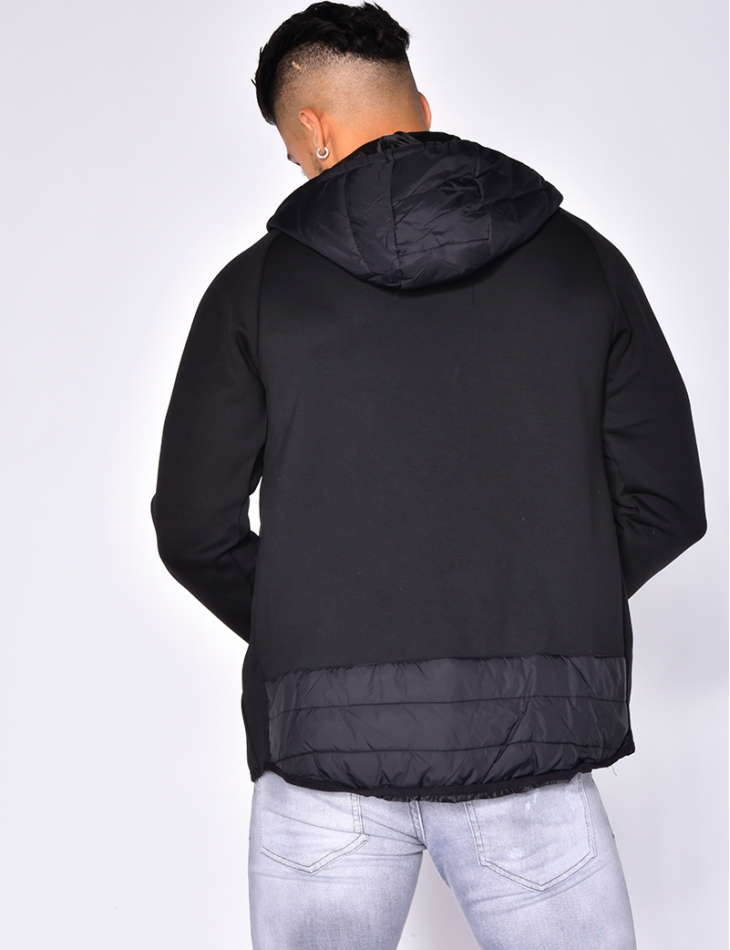 Bi Material Jacket with Hood