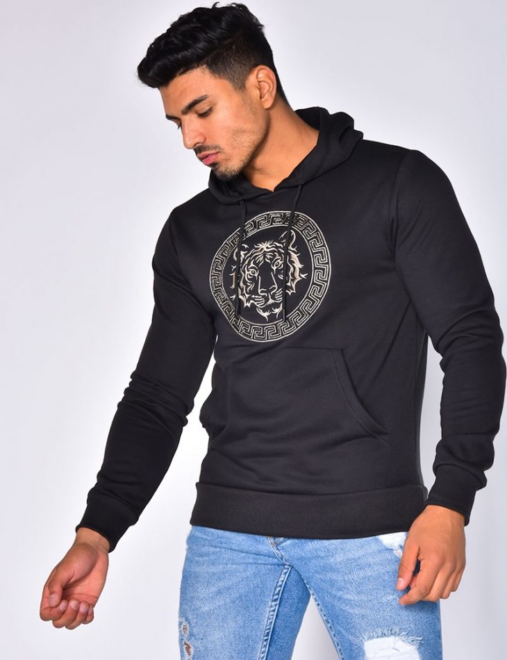 Sweatshirt with Hood and Embriodered Lion Head