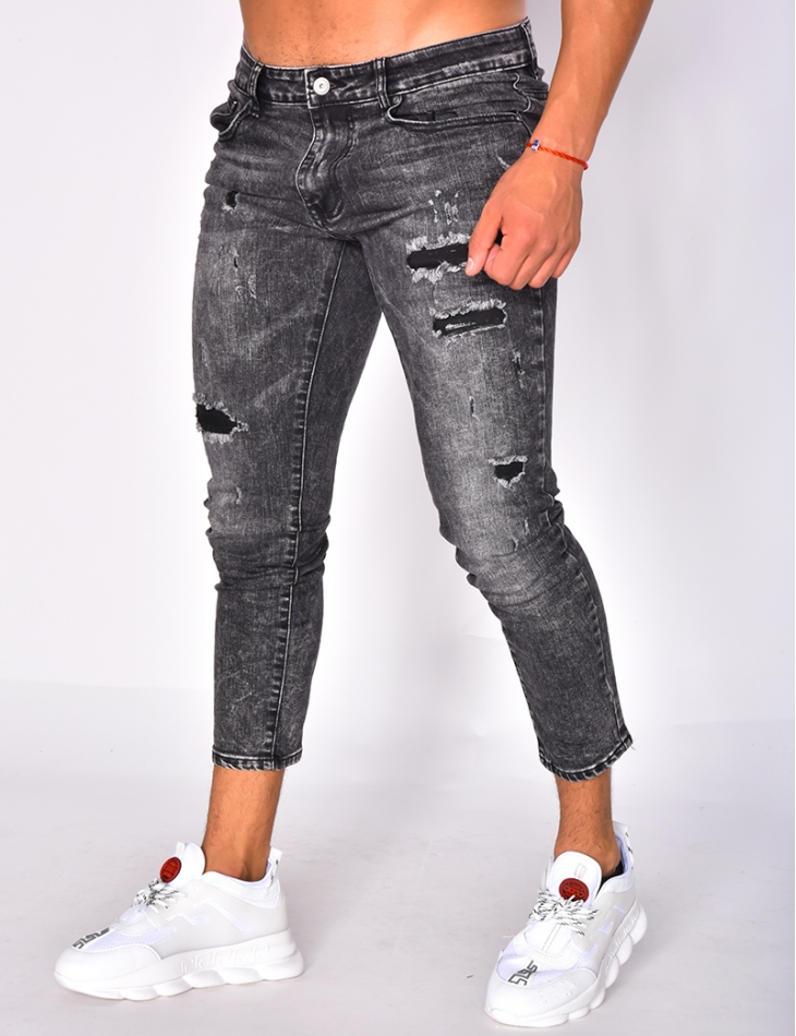 Faded 3/4-Length Jeans