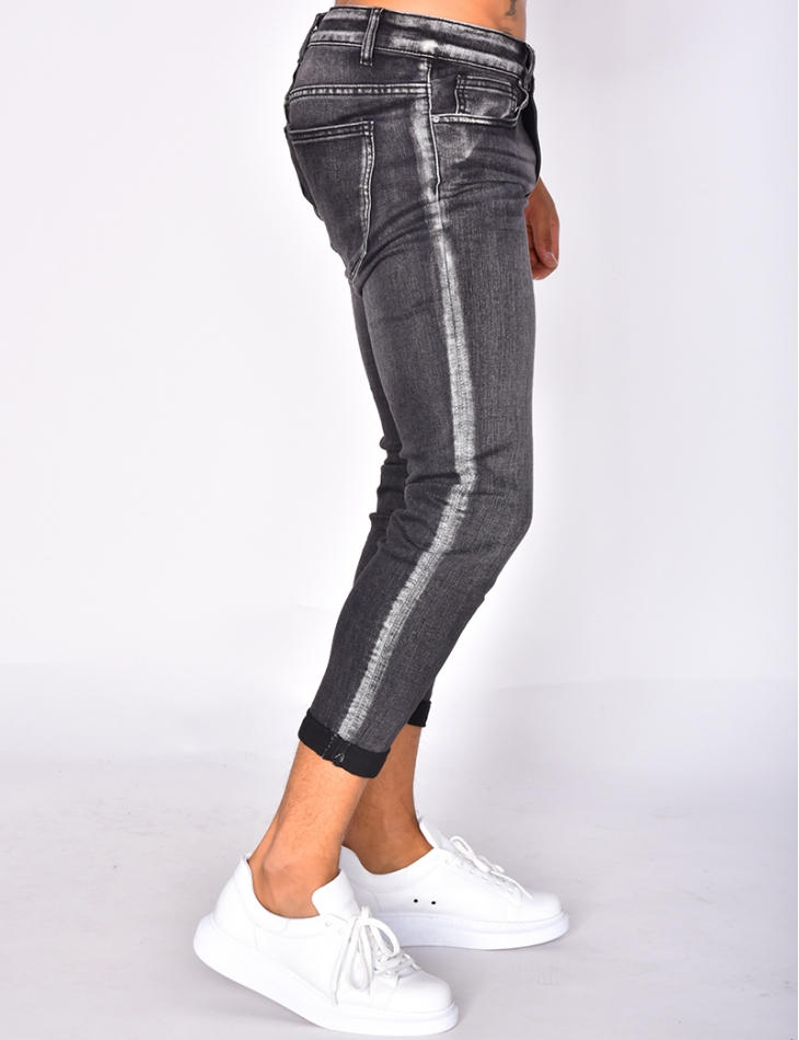 Faded Grey Skinny Jeans with Turn Up Hem