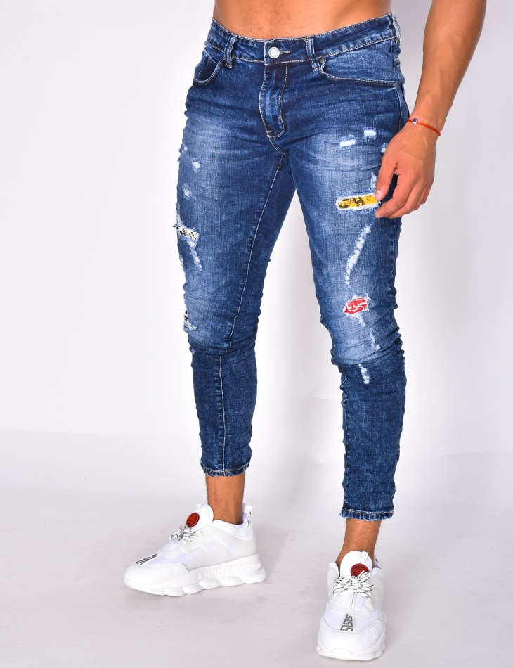 Ripped Jeans with Printed Lining