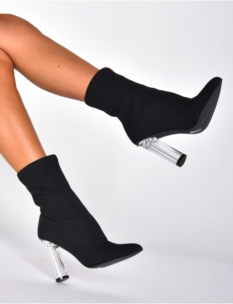 Sock Ankle Boots with Transparent Heels