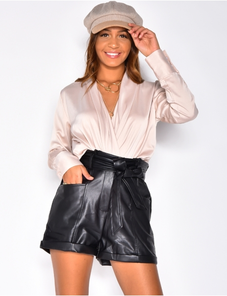 Satin Wrapover Blouse