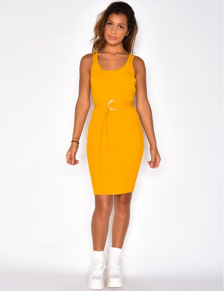 Ribbed Dress with Belt