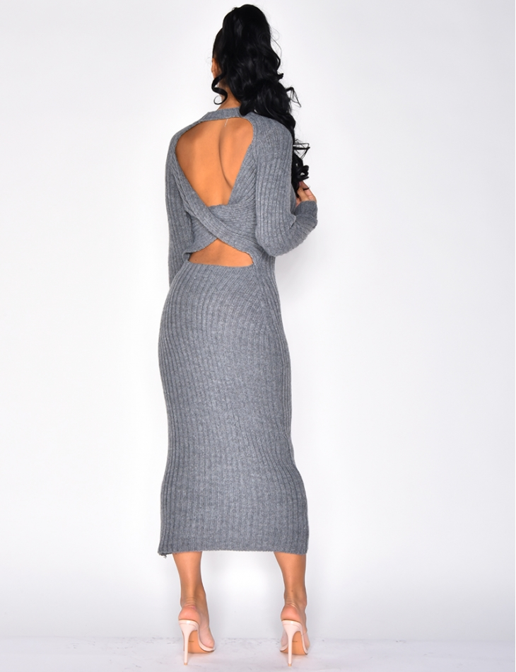 Long Wool Dress with Crossover Back