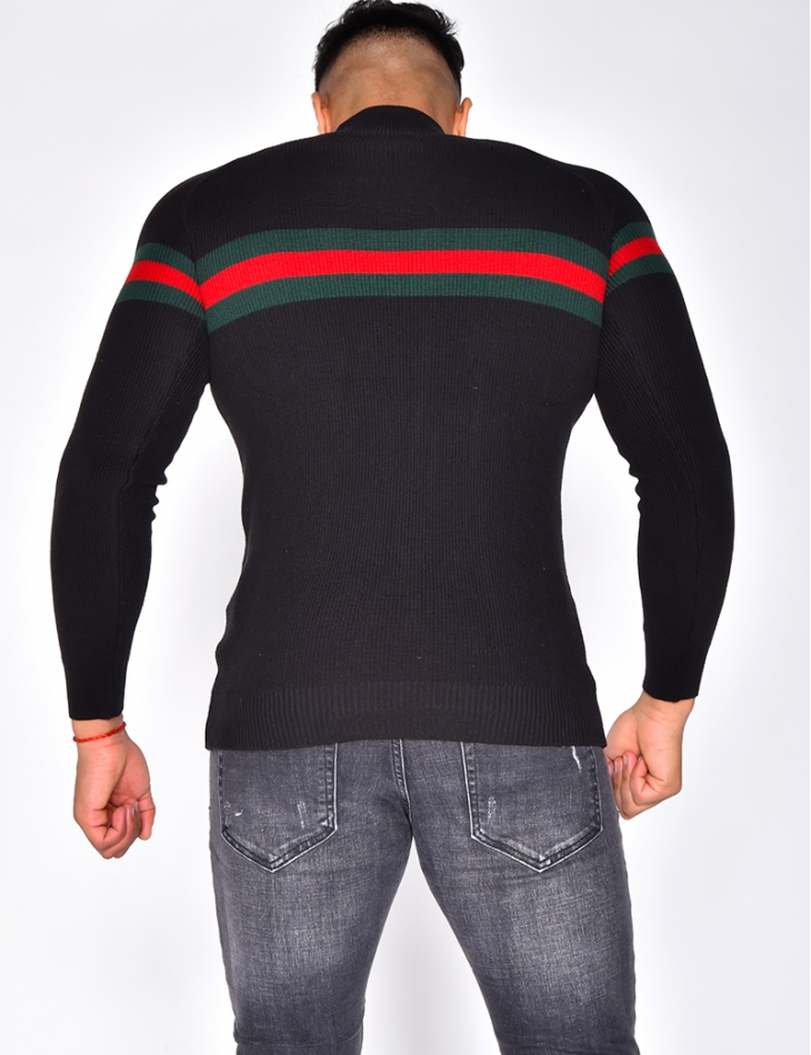 Polo Neck Jumper with Stripe