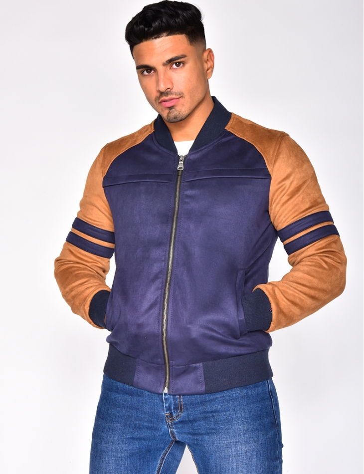 Two-Tone Suedette Bomber Jacket