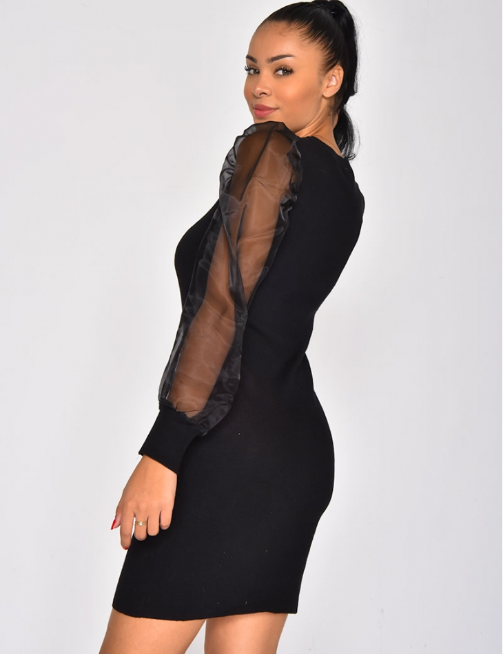 Jumper Dress with Transparent Puff Sleeves