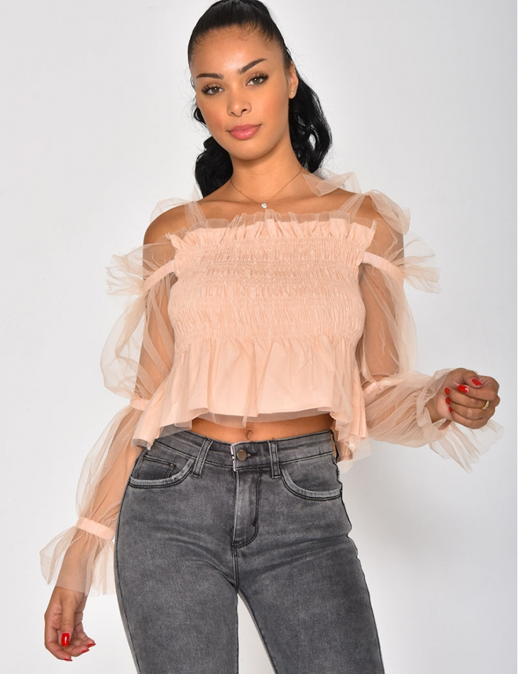 Crop-top à manche en tulle