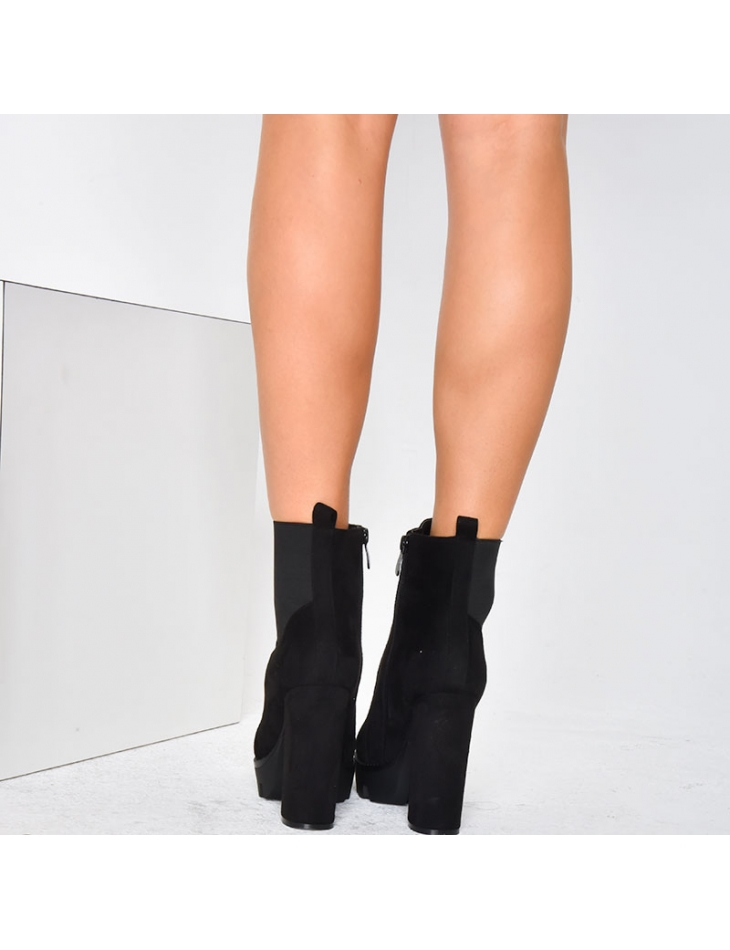 Suedette Ankle Boots with Platform