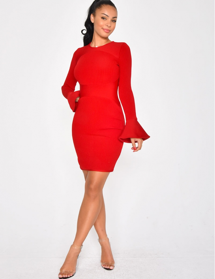 PREMIUM Bandage Dress with Bell Sleeves