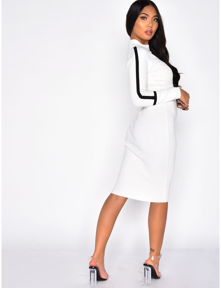 Bodycon Dress with Stripes