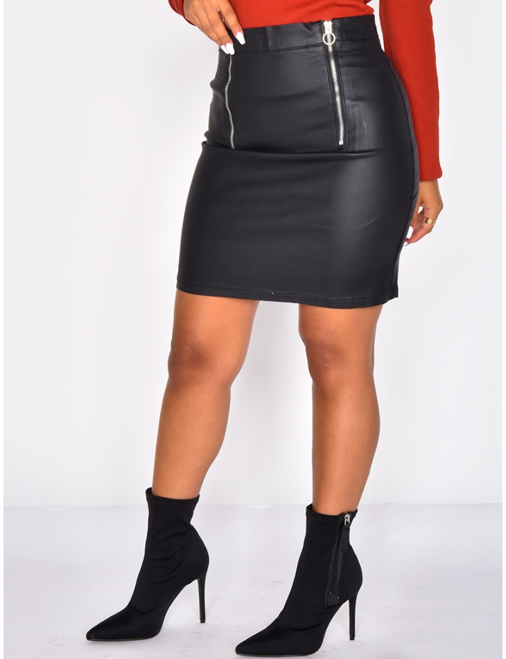 Matte Leather Finish Skirt with Zip