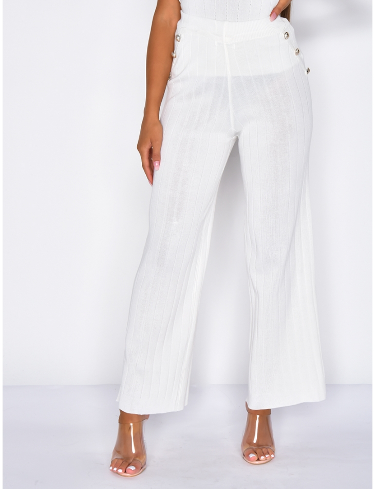 Ribbed Trousers with Buttons