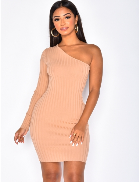Ribbed Asymmetric Dress