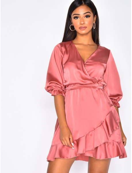 Loose Fit Wrapover Dress with Ruffles