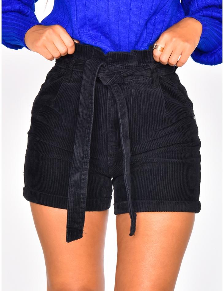 High Waisted Velvet Tie Shorts