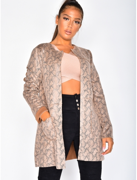 Long Jacket with Snakeskin Pattern