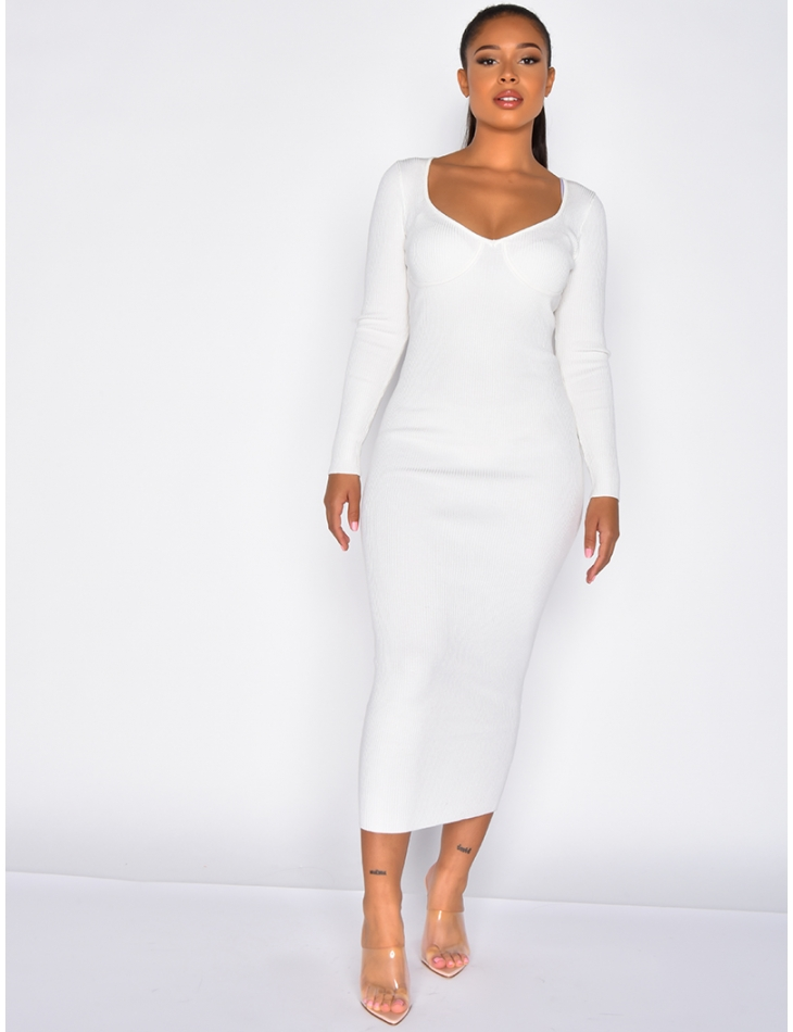 Long Ribbed Dress with Sleeves