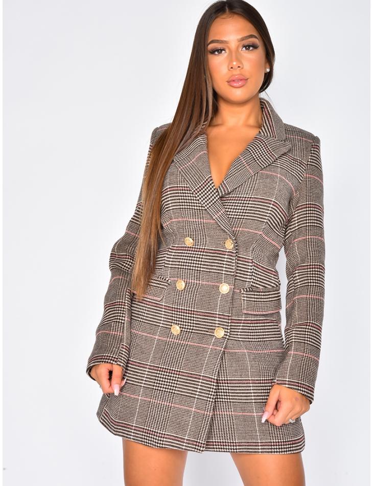 Thick Mid-Length Checked Blazer