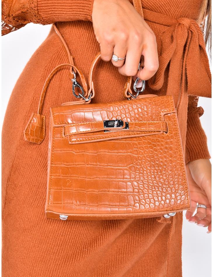 Small Camel Faux Crocodile Skin Bag