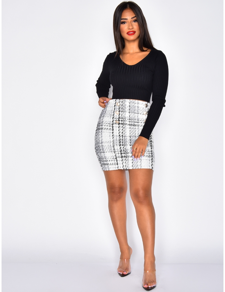 Tweed Skirt with Officer Buttons