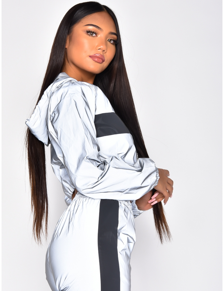 Short Reflective Windbreaker with Stripes