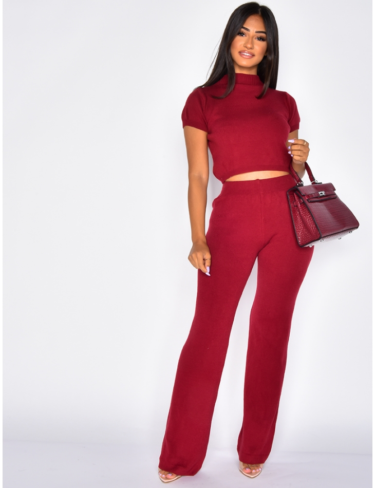 Wool Trousers and Crop Top Co-ord