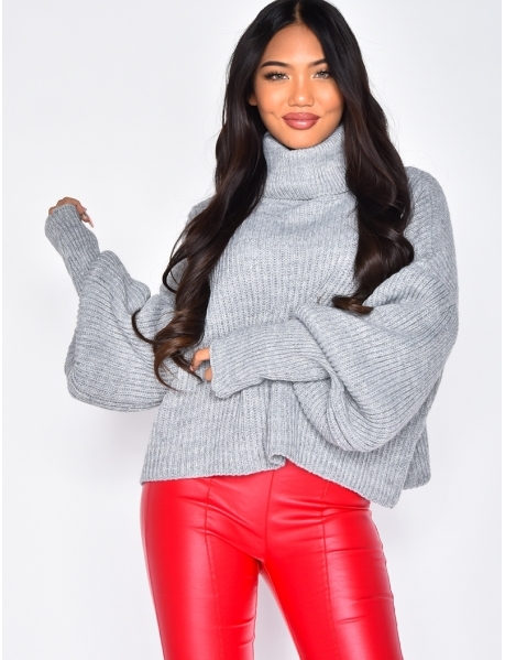 Loose Fit Polo Neck Jumper with Puff Sleeves