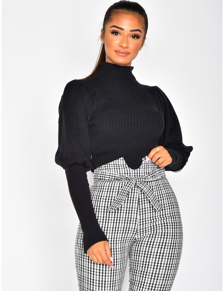 Super Soft Ribbed Jumper with Puff Sleeves