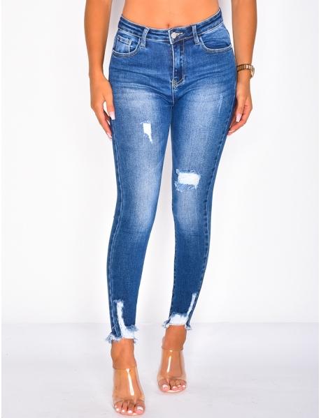 Jeans skinny destroy cropped